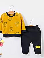 billiga -Bebis Flickor Grundläggande Dagligen Enfärgad Långärmad Normal Polyester Klädesset Gul 110 / Småbarn