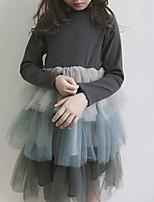 Недорогие -Дети Девочки Классический Контрастных цветов Длинный рукав Платье Серый