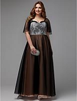 baratos -Linha A Decote Princesa Longo Renda / Tule Evento Formal Vestido com Renda de TS Couture®