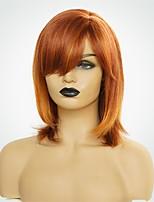 Недорогие -Человеческие волосы без парики Натуральные волосы Естественный прямой Стрижка боб Природные волосы Темно-рыжий Машинное плетение Парик Жен.