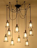 Недорогие -10-Light промышленные Люстры и лампы Потолочный светильник Окрашенные отделки Металл Веревка, Творчество, Расширенный 110-120Вольт / 220-240Вольт