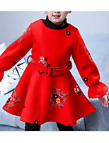 Недорогие -Дети Девочки Классический Повседневные Однотонный Длинный рукав Хлопок / Полиэстер Платье Красный 140