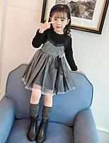 Недорогие -Дети (1-4 лет) Девочки Шинуазери (китайский стиль) Повседневные Однотонный Длинный рукав Платье Черный 110