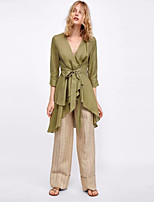 Недорогие -женская хлопчатобумажная свободная блузка - цельная цветная шея