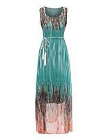 baratos -Mulheres Elegante Calças - Abstrato Pregueado Roxo / Longo / Decote Canoa / Praia