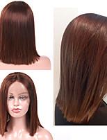 Недорогие -Натуральные волосы Лента спереди Парик Бразильские волосы Прямой Парик Стрижка боб 130% Плотность волос Лучшее качество Новое поступление Горячая распродажа Жен. Средние