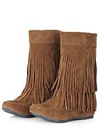 Недорогие -Жен. Искусственная кожа Зима На каждый день Ботинки Скрытая пятка Круглый носок Сапоги до середины икры С кисточками Черный / Серый / Желтый
