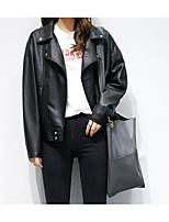 Недорогие -Жен. Повседневные Активный Весна Обычная Кожаные куртки, Однотонный Отложной Длинный рукав Полиэстер Черный S / M / L