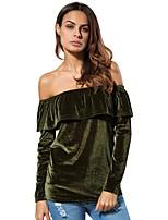 Недорогие -женская блузка - сплошной цвет с плеч