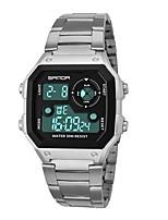Недорогие -SANDA Муж. Спортивные часы Японский Цифровой 30 m Защита от влаги Календарь Секундомер Нержавеющая сталь Группа Цифровой Мода Черный / Серебристый металл - Черный Серебряный