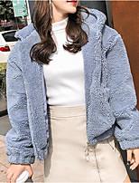 Недорогие -женский выпускной куртка - сплошной цвет с капюшоном