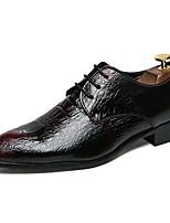 Недорогие -Муж. Кожаные ботинки Кожа Зима Деловые / На каждый день Туфли на шнуровке Нескользкий Черный / Вино