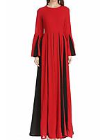 baratos -Mulheres Delgado Calças - Estampa Colorida Cintura Alta Vermelho / Longo