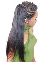 Недорогие -человеческие волосы Remy Необработанные натуральные волосы 360 Лобовой Фронтальная часть Лента спереди Парик Бразильские волосы Прямой Шелковисто-прямые Парик Глубокое разделение 180% Плотность волос