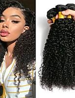 Недорогие -3 Связки Перуанские волосы Малазийские волосы Kinky Curly 8A Натуральные волосы Необработанные натуральные волосы Подарки Косплей Костюмы Человека ткет Волосы 8-28 дюймовый Естественный цвет