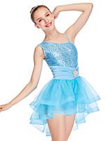 abordables -Danse classique Robes Femme Utilisation Tulle / Lycra Ceinture / Ruban / Volants en cascade / Plissé Sans Manches Taille haute Bijoux de Cheveux / Robe