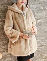Недорогие -Жен. Пальто с мехом Уличный стиль - Однотонный