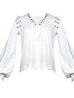 Недорогие -Steampunk Костюм Жен. Блузы / сорочки Белый Винтаж Косплей Хлопок Длинный рукав Широкий, стянутый у запястья