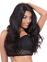 Недорогие -человеческие волосы Remy Полностью ленточные Лента спереди Парик Бразильские волосы Естественные кудри Loose Curl Черный Парик Ассиметричная стрижка 130% 150% 180% Плотность волос