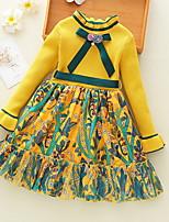 Недорогие -Дети Девочки Классический Однотонный Длинный рукав До колена Платье Зеленый 110