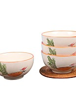 Недорогие -1 комплект 4 шт. Глубокие тарелки Стеклянная посуда Набор для колючей проволоки посуда Фарфор Керамика Очаровательный Heatproof Новый дизайн