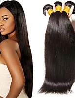 Недорогие -3 Связки Бразильские волосы Прямой Натуральные волосы Необработанные натуральные волосы Человека ткет Волосы Уход за волосами Удлинитель 8-28 дюймовый Естественный цвет Ткет человеческих волос