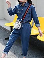Недорогие -Дети Девочки Классический Повседневные / Спорт Собака Однотонный Длинный рукав Обычный Обычная Хлопок / Искусственный шёлк Набор одежды Синий 140