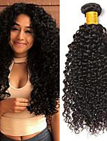 Недорогие -3 Связки Бразильские волосы Индийские волосы Kinky Curly 8A Натуральные волосы Необработанные натуральные волосы Подарки Косплей Костюмы Головные уборы 8-28 дюймовый Естественный цвет