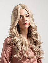 Недорогие -Парики из искусственных волос Жен. Крупные кудри Блондинка Средняя часть Искусственные волосы 24 дюймовый Новое поступление / Природные волосы / вьющийся Блондинка Парик Средняя длина