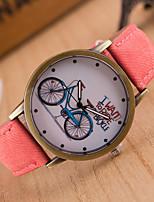 Недорогие -Жен. Наручные часы Кварцевый Повседневные часы Милый Натуральная кожа Группа Аналоговый Мода Цветной Черный / Белый / Синий - Красный Зеленый Розовый
