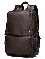 Недорогие -Муж. Мешки PU рюкзак Молнии Сплошной цвет Коричневый / Черный