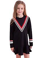 Недорогие -Дети Девочки Черный и красный Однотонный Длинный рукав Платье