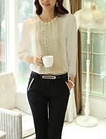 Недорогие -Жен. Бусины Блуза Деловые / Классический Однотонный