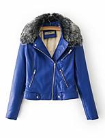 Недорогие -Жен. Повседневные Уличный стиль Обычная Кожаные куртки, Однотонный Отложной Длинный рукав Полиэстер Синий / Черный / Красный M / L / XL