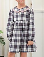 baratos -Infantil Para Meninas Xadrez Manga Longa Vestido