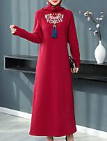 baratos -Mulheres Vintage / Elegante Reto Vestido - Franjas / Bordado, Geométrica Longo