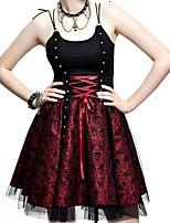 abordables -Steampunk Costume Femme Robes Rouge + noir. Vintage Cosplay Autre matériel Sans Manches