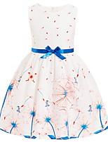 Недорогие -Дети Девочки Классический Цветочный принт Без рукавов Платье Белый 110