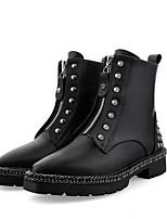 Недорогие -Жен. Наппа Leather Осень На каждый день / Минимализм Ботинки На низком каблуке Заостренный носок Ботинки Заклепки Черный