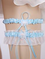 baratos -Organza / Terylene Casamento Wedding Garter Com Caixilhos / Fitas / Flor / Elástico Ligas Casamento