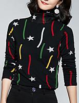 Недорогие -женская футболка - цветная / геометрическая водолазка