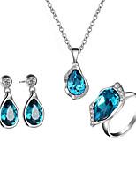 billiga -Dam Kubisk Zirkoniumoxid Klassisk Smyckeset - S925 Sterling Silver Omfatta Brud Smyckeset Blå Till Bröllop Dagligen
