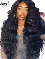 Недорогие -Натуральные волосы Лента спереди Парик Бразильские волосы Волнистый Естественные кудри Парик Боковая часть 250% Плотность волос / Природные волосы / Отбеленные узлы / с детскими волосами