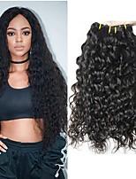 Недорогие -3 Связки Малазийские волосы Монгольские волосы Волнистые 8A Натуральные волосы Необработанные натуральные волосы Подарки Косплей Костюмы Человека ткет Волосы 8-28 дюймовый Естественный цвет