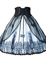 baratos -Doce Lolita Clássica e Tradicional Tradicional / Vintage Estilo Gótico Chifon Feminino Saia Cosplay Preto Fantasias