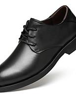 Недорогие -Муж. Официальная обувь Наппа Leather Осень Деловые / На каждый день Туфли на шнуровке Массаж Черный / Коричневый