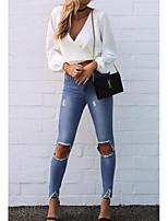 Недорогие -Жен. Блуза Глубокий V-образный вырез Однотонный