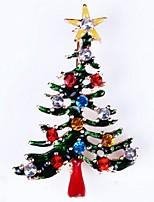 Недорогие -Жен. Броши - Стразы Новогодняя ёлка Дамы, Простой Брошь Бижутерия Золотой Назначение Рождество