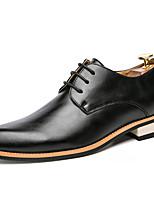 Недорогие -Муж. Официальная обувь Синтетика Весна & осень Деловые / На каждый день Туфли на шнуровке Нескользкий Черный / Коричневый / Винный