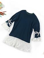 Недорогие -Дети Девочки Милая Повседневные Однотонный Кружева Длинный рукав Средней длины Хлопок Платье Синий 150